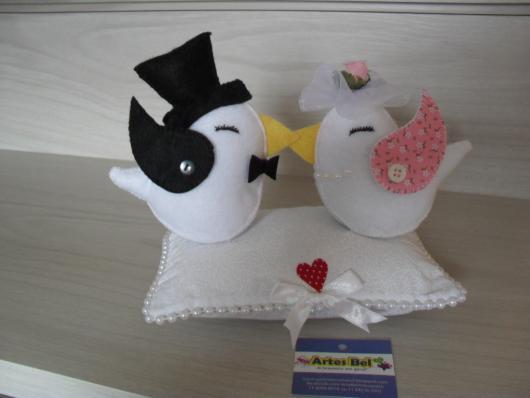 Lembrancinhas para Padrinhos de Casamento casal de passarinhos de feltro