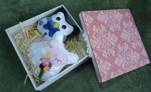 Lembrancinhas para Padrinhos de Casamento casal de corujas de feltro
