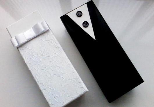 Lembrancinhas para Padrinhos de Casamento caixa de MDF preta e branca