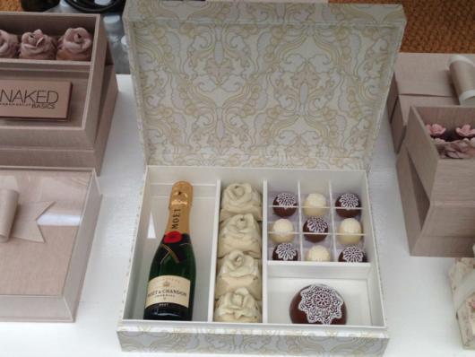 Lembrancinhas para Padrinhos de Casamento caixa com champagne e doces