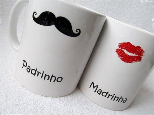 Lembrancinhas para Padrinhos de Casamento xícaras personalizadas
