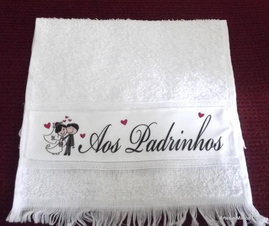 Lembrancinhas para Padrinhos de Casamento toalhinha personalizada
