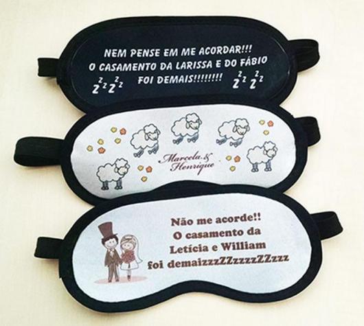 Lembrancinhas para Padrinhos de Casamento máscara de dormir