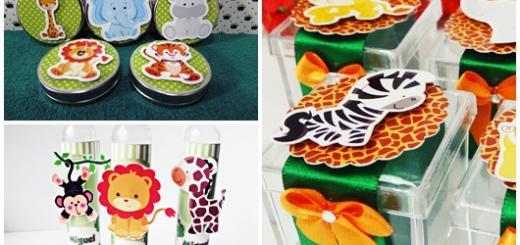 Lembrancinhas Safari modelos personalizadps de tubete caixinha e latinha