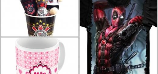 Presentes Personalizados camisera Deadpool kit Corinthians e caneca rosa mãe