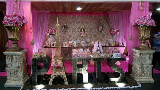 Temas para festa de 15 anos París rosa