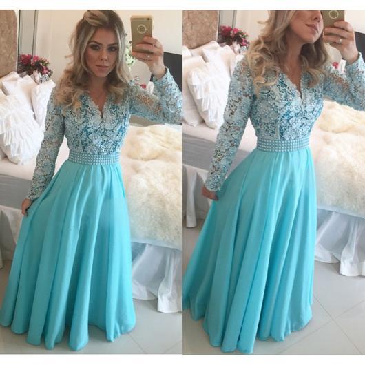 Vestido de Formatura Azul longo com manga
