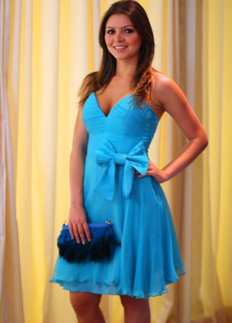 Vestido de Formatura Azul claro tomara que caia