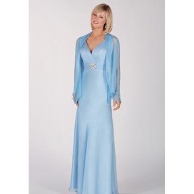 Vestido de Formatura Azul claro com manga longa