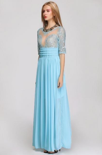Vestido de Formatura Azul com manga