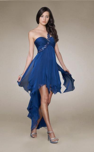 Vestido de Formatura Azul marinho com calda