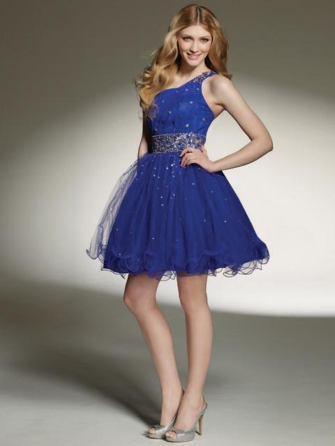 Vestido de Formatura Azul marinho com tule