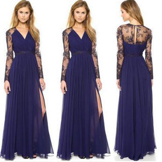 Vestido de Formatura Azul escuro de renda longo com manga