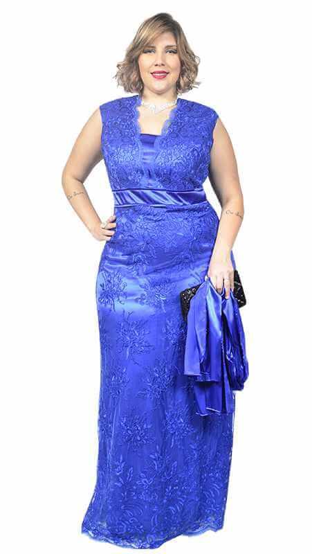 Vestido de Formatura Azul escuro longo plus size