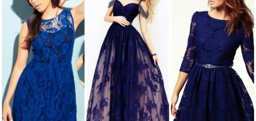 Vestido de Formatura Azul escuro modelos com renda