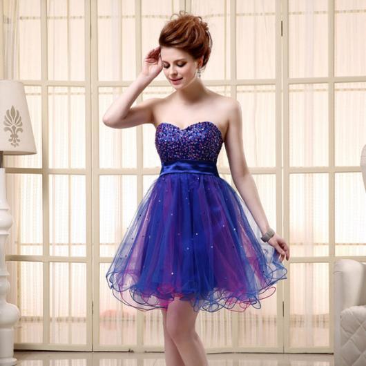 Vestido de Formatura Azul escuro de tule rodado