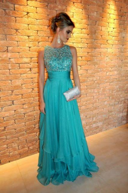Vestido de Formatura Azul tiffany longo