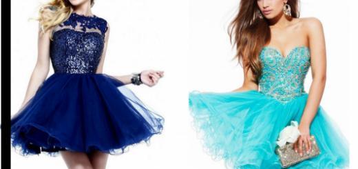 Modelos vestem vestidos curtos de debutante na cor azul forte e mais claro.