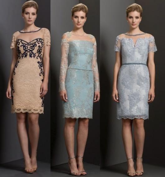 Modelos usam vestidos nas cores nude, azul claro e lilás.