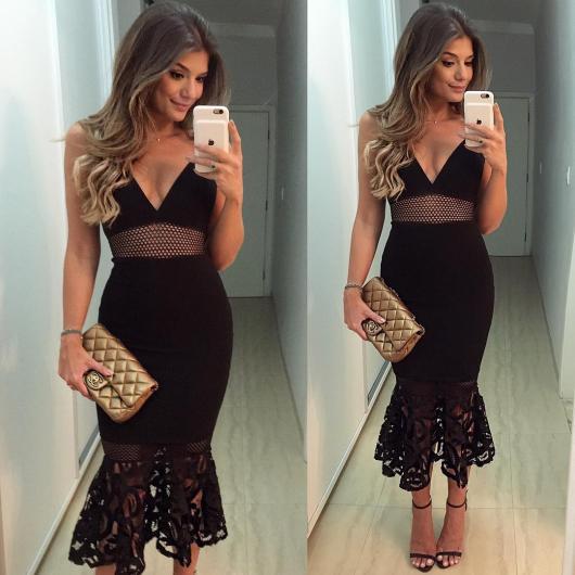Sandalia para vestido preto curto