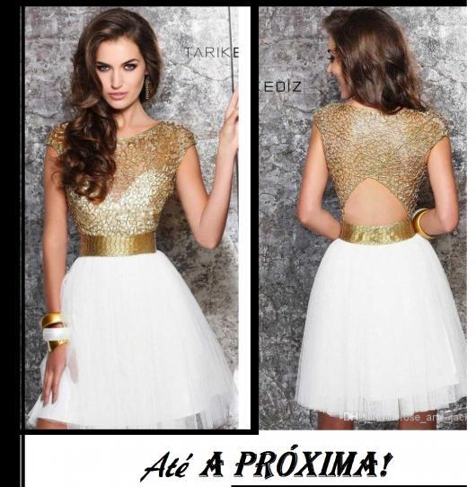 e7bb08f57 Ilustração final do post com modelo de vestido curto dourado com branco,  modelo godê.