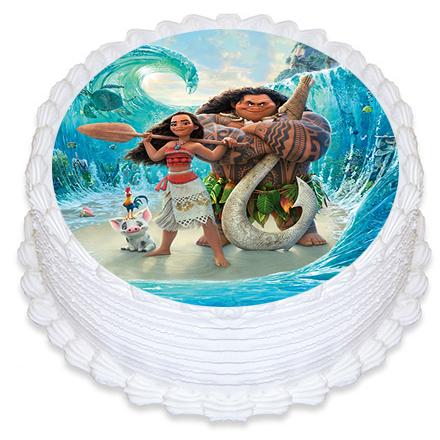 Bolo Moana simples decorado com glacê branco e papel de arroz dos personagens do filme