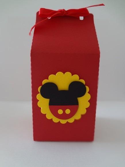 Caixinha para Lembrancinhas feita com caixa de leite tema Mickey