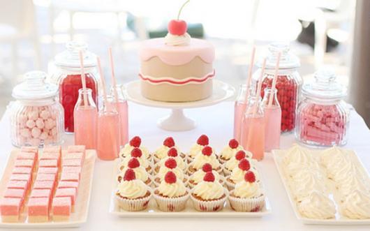 Chá de Casa Nova mesa decorada com doces
