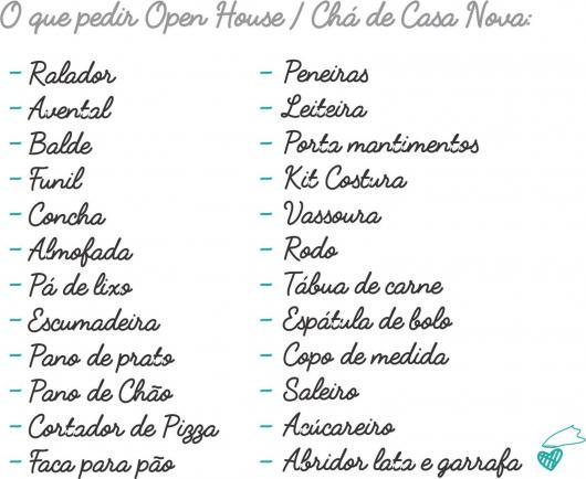 Chá de Casa Nova lista de presentes