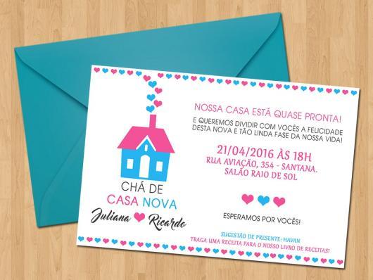 Chá de Casa Nova convite com envelope azul