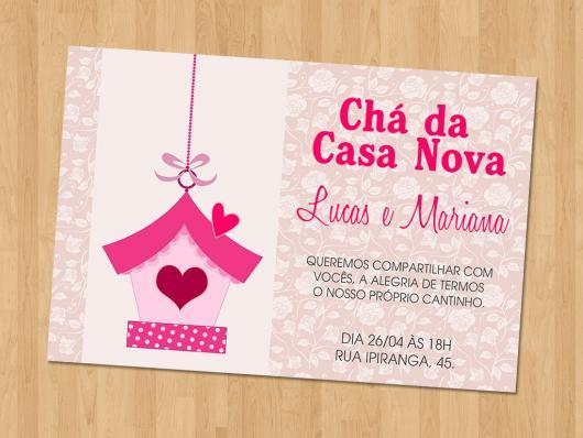 Chá de Casa Nova convite rosa com duas estampas