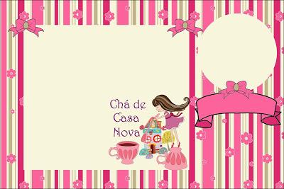 Chá de Casa Nova convite rosa