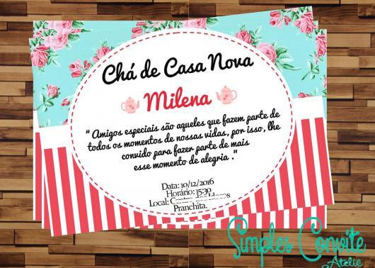 Chá de Casa Nova convite modelo de convite cartão florido