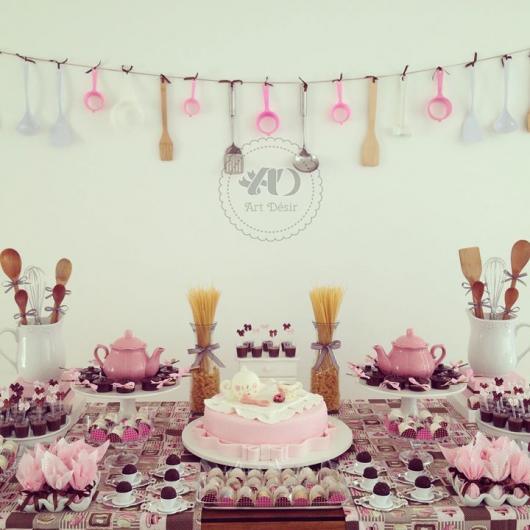 Chá de Panela Simples decoração rosa