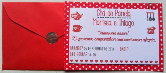 Chá de Panela Simples convite peronalizado com envelope