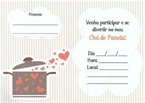 Chá de Panela Simples convite peronalizado cartão
