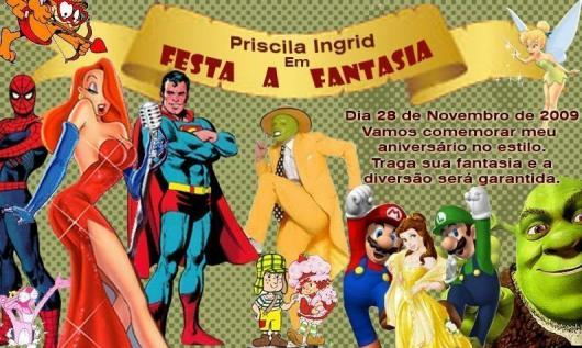 convite para festa à fantasia infantil
