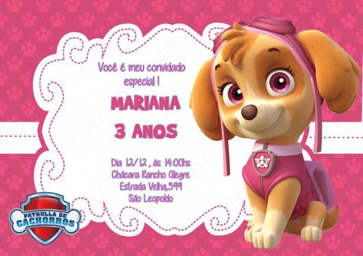 Convites Patrulha Canina cartão rosa e branco