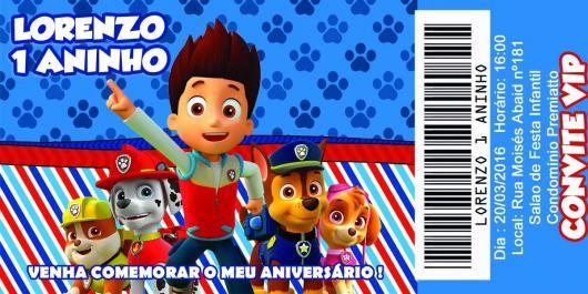 Convites Patrulha Canina ingresso com fundo azul