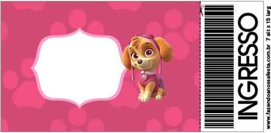 Convites Patrulha Canina ingresso rosa