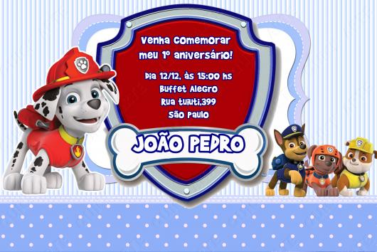 Convites Patrulha Canina cartão azul e vermelho