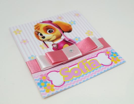 Convites Patrulha Canina scrap rosa