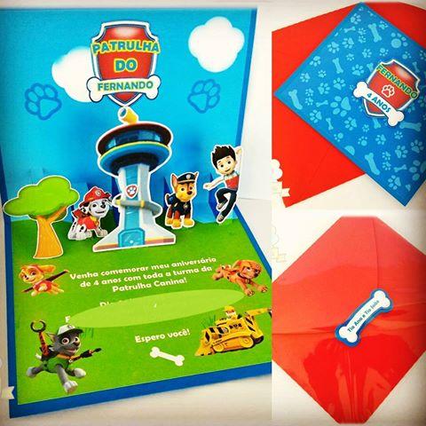 Convites Patrulha Canina pop up com envelope vermelho