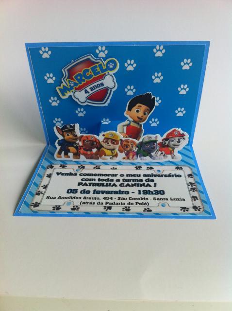 Convites Patrulha Canina pop up azul com aplique 3D