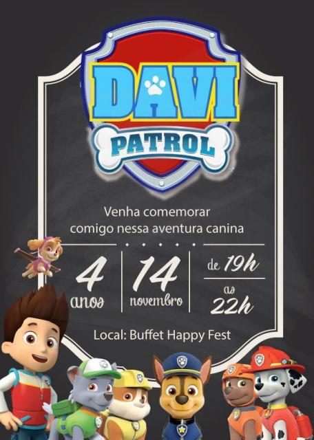 Convites Patrulha Canina chalkboard com todos os personagens