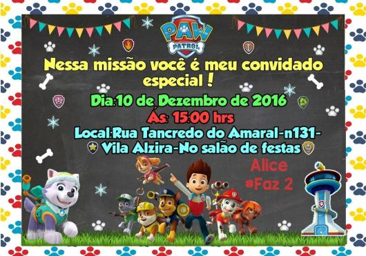 Convites Patrulha Canina chalk com detalhe de bandeirinhas