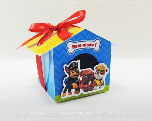 Convites Patrulha Canina caixa no formato de casinha