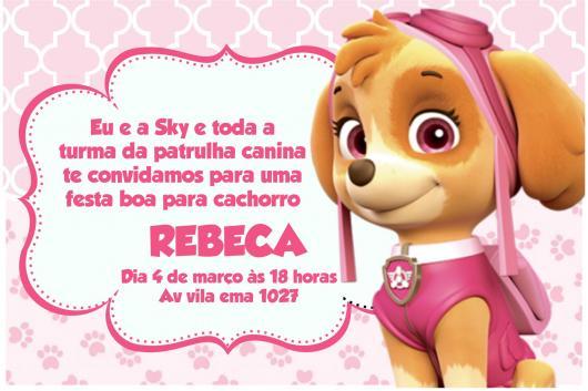 Convites Patrulha Canina cartão rosa