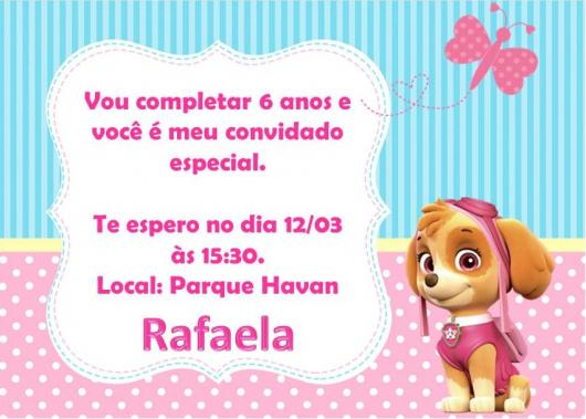 Convites Patrulha Canina cartão azul rosa e branco