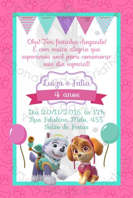 Convites Patrulha Canina modelo cartão rosa e azul